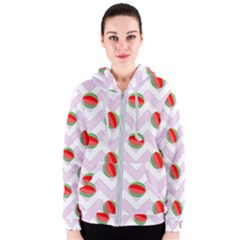 Watermelon Chevron Women s Zipper Hoodie