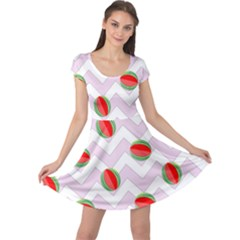 Watermelon Chevron Cap Sleeve Dress