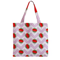 Watermelon Chevron Zipper Grocery Tote Bag