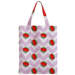 Watermelon Chevron Zipper Classic Tote Bag