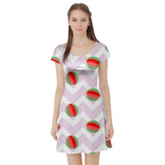 Watermelon Chevron Short Sleeve Skater Dress