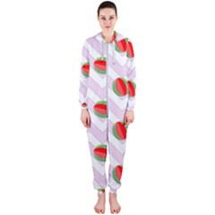 Watermelon Chevron Hooded Jumpsuit (Ladies)
