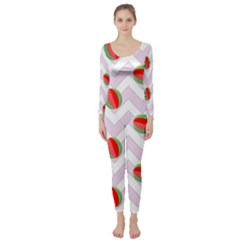 Watermelon Chevron Long Sleeve Catsuit