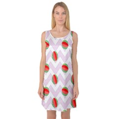 Watermelon Chevron Sleeveless Satin Nightdress