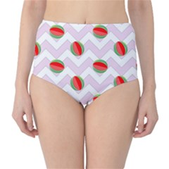 Watermelon Chevron Classic High-Waist Bikini Bottoms
