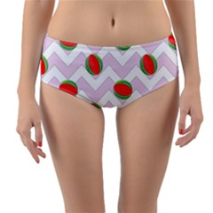 Watermelon Chevron Reversible Mid-Waist Bikini Bottoms