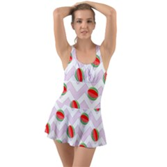 Watermelon Chevron Ruffle Top Dress Swimsuit