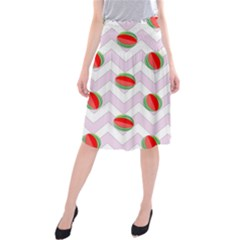 Watermelon Chevron Midi Beach Skirt
