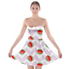 Watermelon Chevron Strapless Bra Top Dress