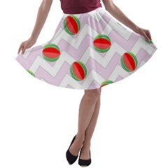 Watermelon Chevron A-line Skater Skirt