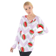 Watermelon Chevron Tie Up Tee