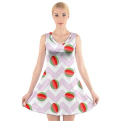 Watermelon Chevron V-Neck Sleeveless Dress