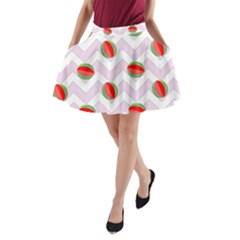 Watermelon Chevron A-Line Pocket Skirt