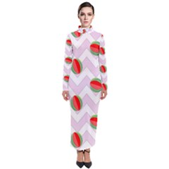 Watermelon Chevron Turtleneck Maxi Dress