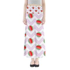 Watermelon Chevron Full Length Maxi Skirt