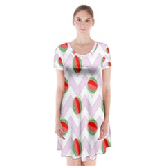 Watermelon Chevron Short Sleeve V-neck Flare Dress
