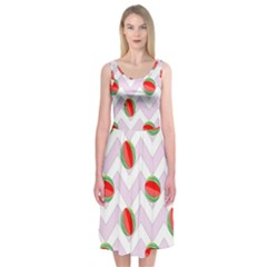 Watermelon Chevron Midi Sleeveless Dress