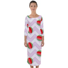 Watermelon Chevron Quarter Sleeve Midi Bodycon Dress