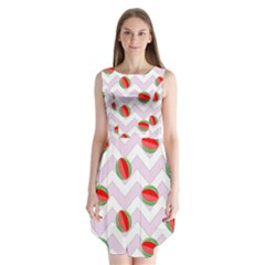 Watermelon Chevron Sleeveless Chiffon Dress