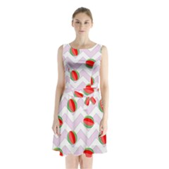 Watermelon Chevron Sleeveless Waist Tie Chiffon Dress