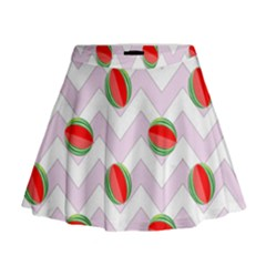 Watermelon Chevron Mini Flare Skirt