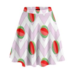 Watermelon Chevron High Waist Skirt