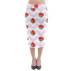 Watermelon Chevron Midi Pencil Skirt