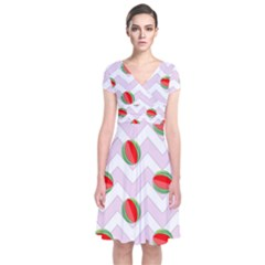 Watermelon Chevron Short Sleeve Front Wrap Dress