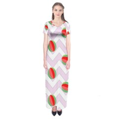Watermelon Chevron Short Sleeve Maxi Dress