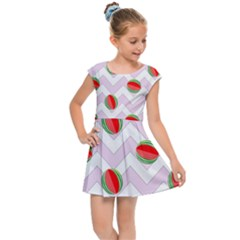 Watermelon Chevron Kids Cap Sleeve Dress