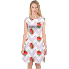 Watermelon Chevron Capsleeve Midi Dress