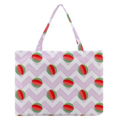 Watermelon Chevron Zipper Medium Tote Bag
