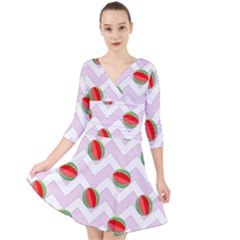 Watermelon Chevron Quarter Sleeve Front Wrap Dress