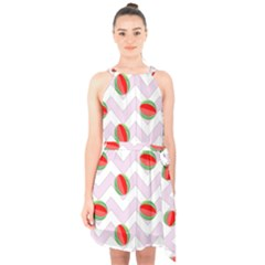 Watermelon Chevron Halter Collar Waist Tie Chiffon Dress