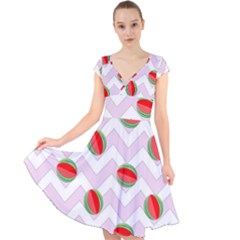 Watermelon Chevron Cap Sleeve Front Wrap Midi Dress