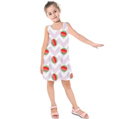 Watermelon Chevron Kids  Sleeveless Dress