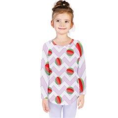 Watermelon Chevron Kids  Long Sleeve Tee
