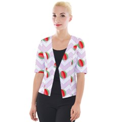 Watermelon Chevron Cropped Button Cardigan