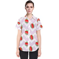 Watermelon Chevron Women s Short Sleeve Shirt