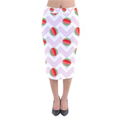 Watermelon Chevron Velvet Midi Pencil Skirt