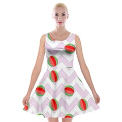 Watermelon Chevron Velvet Skater Dress