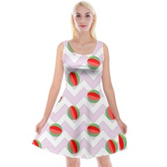 Watermelon Chevron Reversible Velvet Sleeveless Dress