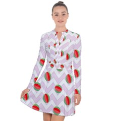 Watermelon Chevron Long Sleeve Panel Dress