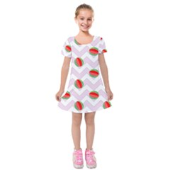 Watermelon Chevron Kids  Short Sleeve Velvet Dress