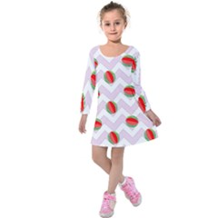 Watermelon Chevron Kids  Long Sleeve Velvet Dress