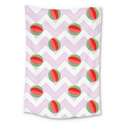 Watermelon Chevron Large Tapestry