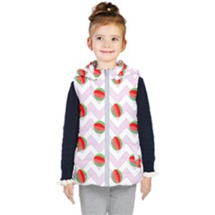 Watermelon Chevron Kid s Hooded Puffer Vest