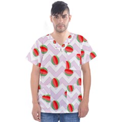 Watermelon Chevron Men s V-Neck Scrub Top