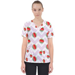 Watermelon Chevron Scrub Top