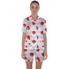Watermelon Chevron Satin Short Sleeve Pyjamas Set